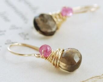 Pink Sapphire Smoky Quartz Earrings, 14k Gold Fill Dangle Earrings, Mother's Day Jewelry