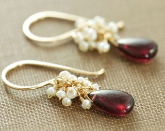 Garnet  Pearl Cluster Earrings, January Birthstone Gold Earrings