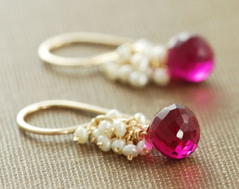 Raspberry Quartz Seed Pearl Earrings 14k Gold Fill, Pink Gemstone Dangle Earrings, Summer Fashion