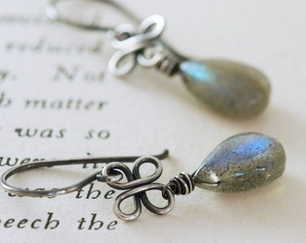 Labradorite Clover Earrings in Oxidized Sterling Silver, Gemstone Dangle Earrings, Handmade, aubepine
