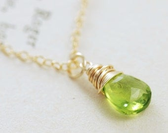 Auguest Birthstone Necklace, Peridot Jewelry, Green Gemstone Pendant Handmade Necklace