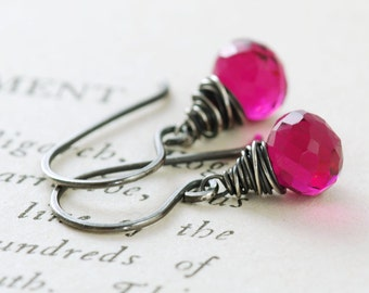Raspberry Quartz Earrings Wrapped in Sterling Silver, Pink Gemstone Dangle Earrings, October Birthstone Jewelry, aubepine