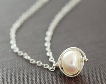 Pearl Pendant Necklace Sterling Silver, Bridesmaid Jewelry, June Birthstone