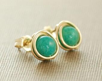 Emerald Green Post Earrings,14k Gold Fill Gemstone Earrings, Wire Wrapped Handmade Jewelry, aubepine