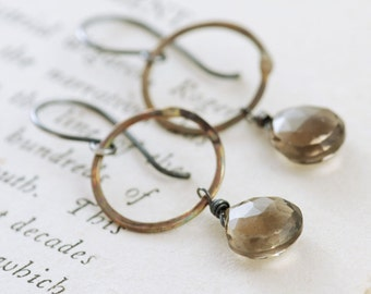 Mixed Metal Hoop Earrings Smoky Quartz Dangles, Sterling Silver and Brass Gemstone Earrings, aubepine