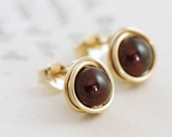 Garnet Post Earrings 14k Gold Fill, January Birthstone Earrings, Marsala Red Gemstone, aubepine