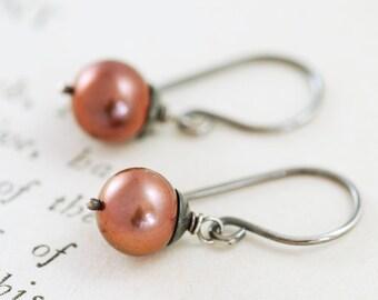 Chocolate Brown Pearl Earrings, Sterling Silver Dangle Earrings, June Birthstone Jewelry