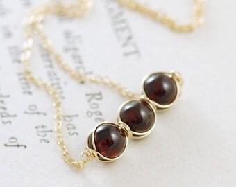 Garnet Jewelry, January Birthstone Necklace 14K Gold Fill, Red Gemstone Necklace, January Birthstone