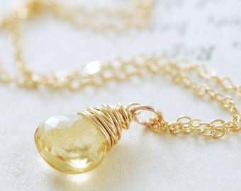 Citrine Necklace Wrapped in 14k Gold Fill, November Birthstone Necklace, Yellow Gemstone Pendant, Handmade,