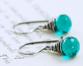 Peacock Quartz Earrings Wrapped in Sterling Silver, Teal Blue Gemstone Earrings, Oxidized, aubepine