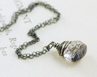 Moss Amethyst Sterling Silver Necklace, February Birthstone Jewelry, Purple Gemstone Necklace