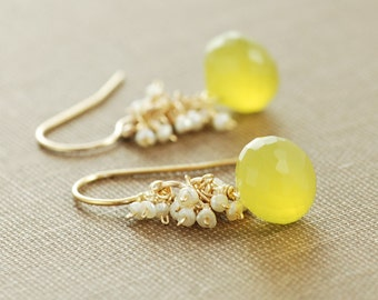 Yellow Gemstone Pearl Earrings, Gold Dangle Earrings, Lemon Meringue Pie, Seed Pearl Clusters