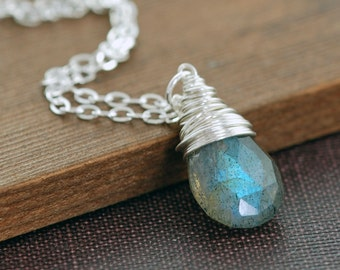 Labradorite Silver Necklace, Gray Gemstone Sterling Silver Wire Wrap Pendant, aubepine