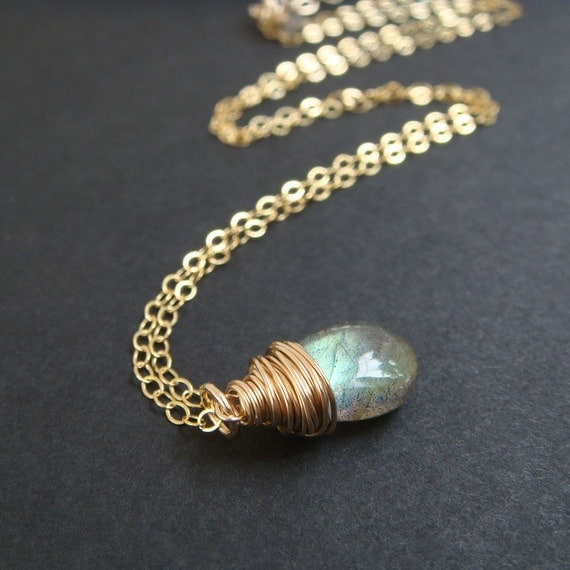 Labradorite Necklace in 14k Gold Fill, Gemstone Wire Wrapped Pendant