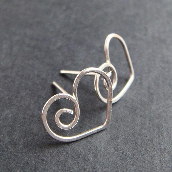 Heart Earrings in Sterling Silver, Love Jewelry, Heart Post Earrings, Handmade Metal Studs