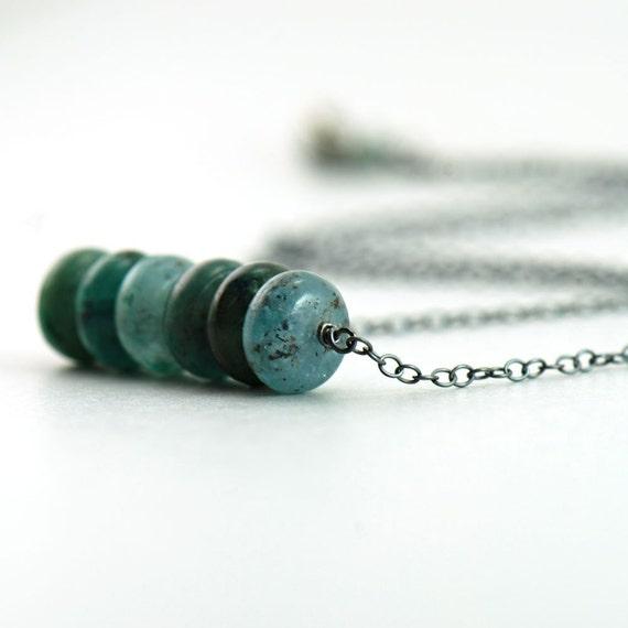 Teal Kyanite Necklace Sterling Silver, Green Stone Handmade Jewelry, aubepine