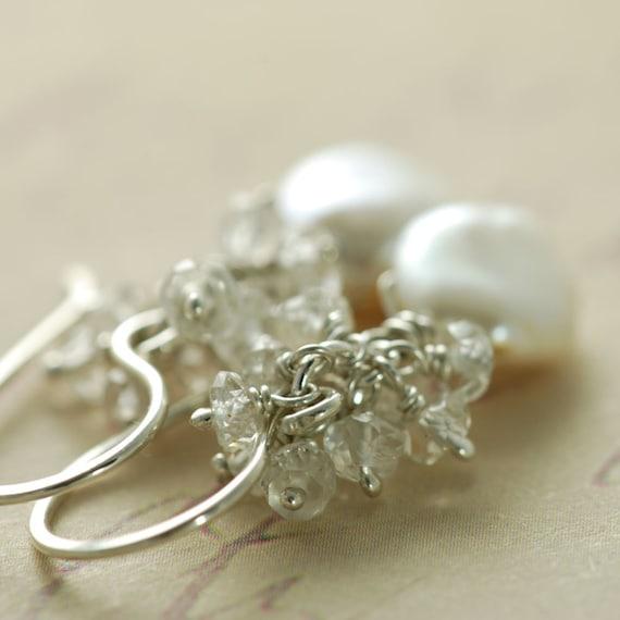 Pearl Topaz Earrings Sterling Silver, Gemstone Cluster Earrings Wire Wrapped Handmade, aubepine