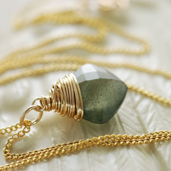 Moss Aquamarine Gold Necklace, Teal Green Gemstone Pendant, March Birthstone Jewelry