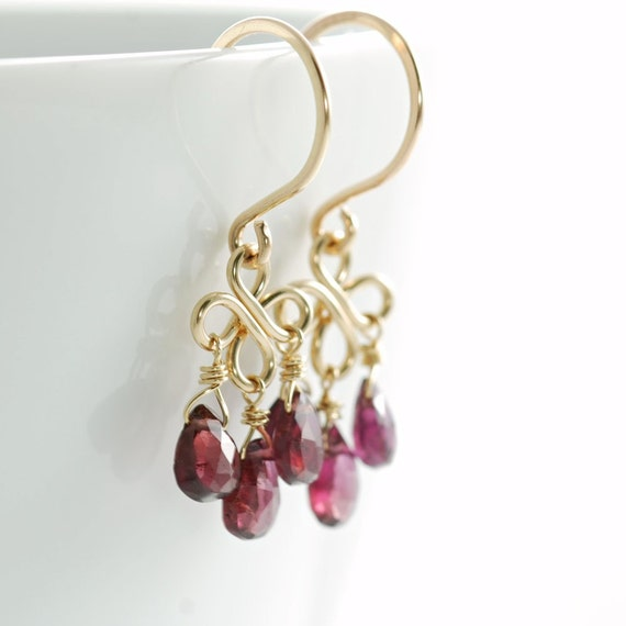 Red Garnet Chandelier Earrings 14k Gold Fill, January Birthstone Jewelry, Gemstone Dangle Earrings, Handmade Winter Fashion
