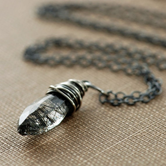 Necklace, Black Rutilated Quartz Wrapped in Sterling Silver, Handmade Pendant Necklace, aubepine