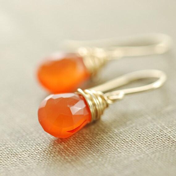Orange Carnelian Gemstone Earrings, Gold Dangle Earrings,Tangerine Wire Wrap Jewelry, aubepine