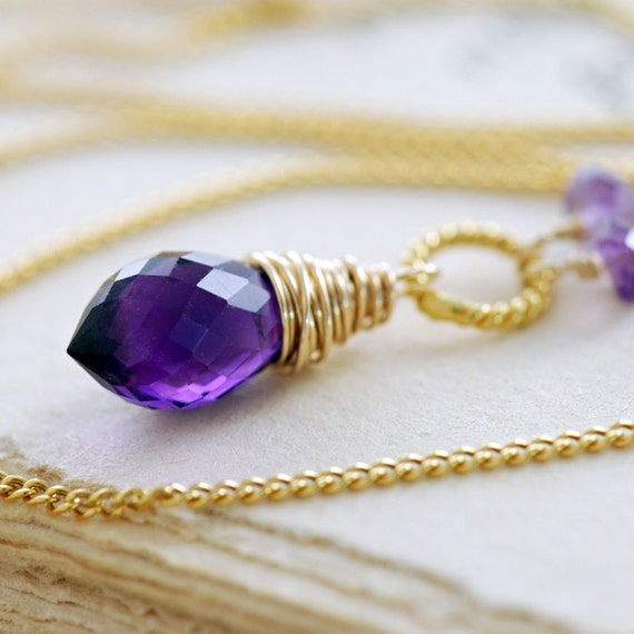 Gold Amethyst Necklace, February Birthstone Necklace, Purple Gemstone Pendant, Wire Wrapped Handmade, aubepine