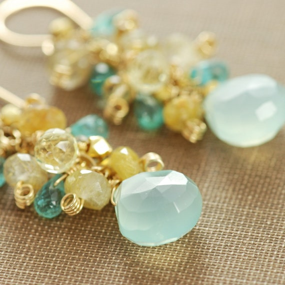 Gemstone Earrings, Citrine Quartz Aquamarine Chalcedony Apatite in 14k Gold Fill, Beachcomber Summer Fashion, aubepine
