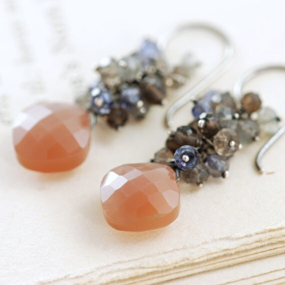 Taupe Moonstone Cluster Earrings in Sterling Silver, Smoky Quartz Gemstone Earrings Handmade, Fall Fashion