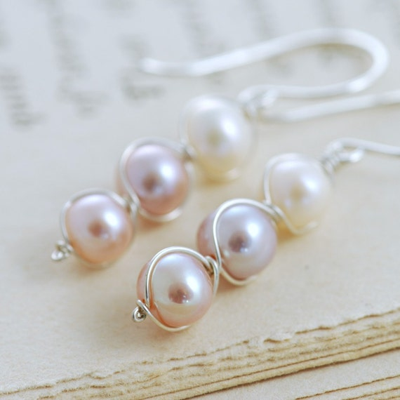 Pastel Pearl Earrings Sterling Silver, Bridesmaid Jewelry, June Birthstone, Delicate Pearl Dangle Earrings, aubepine