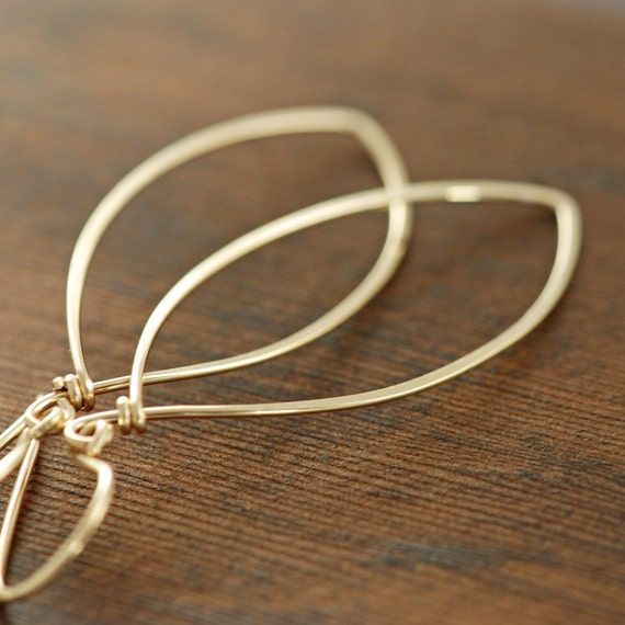 Leaf Earrings 14k Gold Fill, Handmade Metal Hoop Earrings, Autumn Jewelry, aubepine