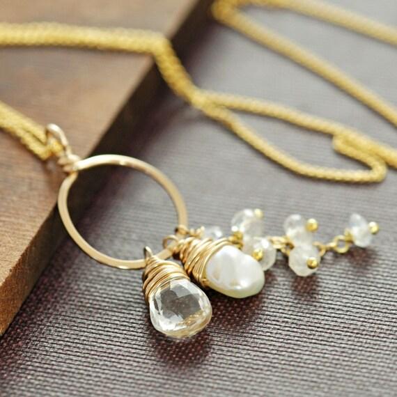 Gemstone Necklace, Topaz Moonstone Pearl 14k Gold Fill Pendant, Handmade, aubepine