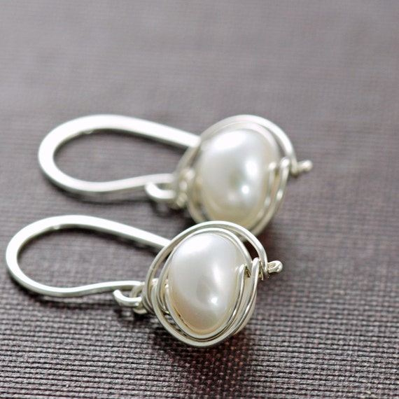 Pearl Earrings Sterling Silver, Bridal Jewelry, Wire Wrapped Handmade