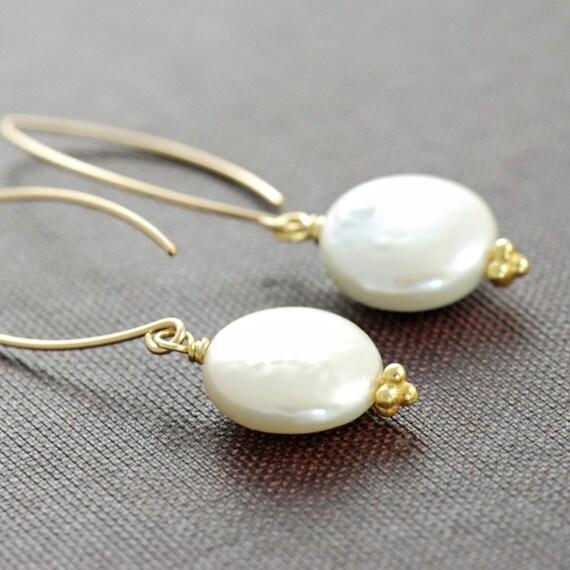 Coin Pearl Earrings in 14k Gold Fill, Handmade