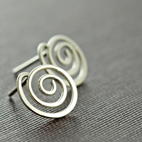 Swirl Post Earrings Sterling Silver, Modern Stud Earrings, aubepine