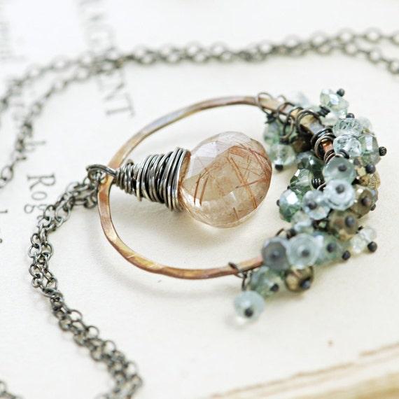 Copper Gemstone Pendant Necklace, Sterling Silver, Rutilated Quartz Teal Quartz Aquamarine Pyrite Clusters