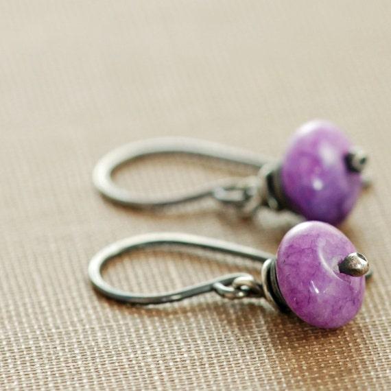 Purple Stone Earrings Oxidized Sterling Silver, Petite Gemstone Dangle Earrings Handmade