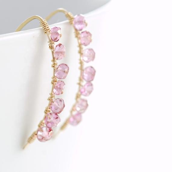 Wire Wrapped Pink Gemstone Earrings, October Birthstone Jewelry, Gold Quartz Earrings, aubepine