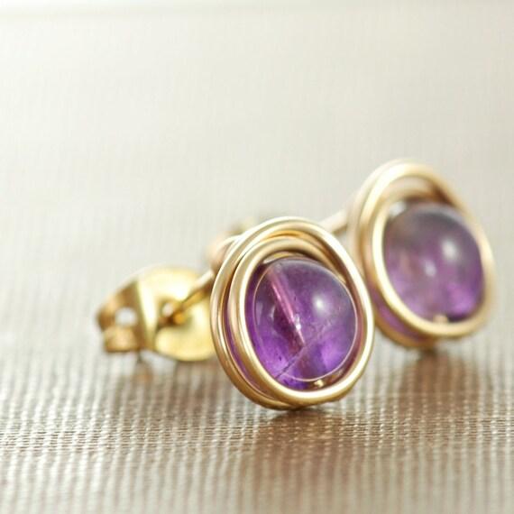Amethyst Post Earrings Wrapped in 14k Gold Fill, February Birthstone Earrings, Purple Stone