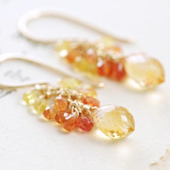 Citrine Sapphire Earrings in 14k Gold Fill, Yellow Orange Gemstone Earrings, November Birthstone Jewelry, aubepine