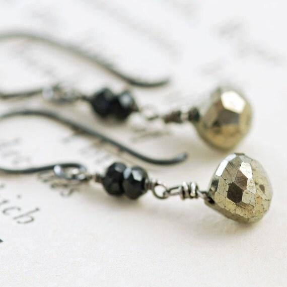 Pyrite Earrings in Sterling Silver, Black and Gold Dangle Earrings, Drop, aubepine