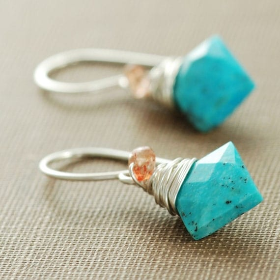 Turquoise Sunstone Earrings Wrapped in Sterling Silver, December Birthstone, Handmade