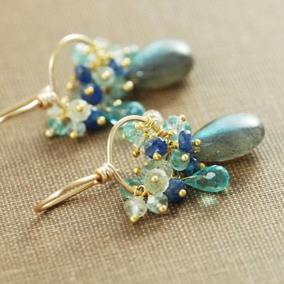 Gemstone Gold Earrings Labradorite Sapphires Aquamarine Apatite, Hoops Blue Teal, aubepine