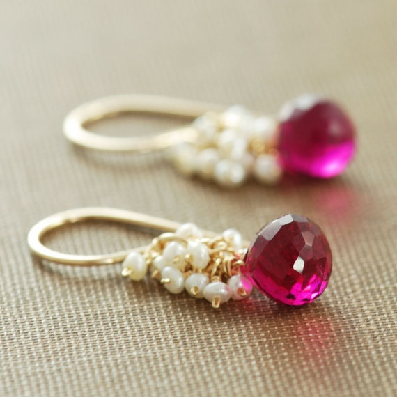 Raspberry Quartz Seed Pearl Earrings 14k Gold Fill, Wrapped Pink Gemstone Dangle Earrings, Winter Holiday Festive Earrings