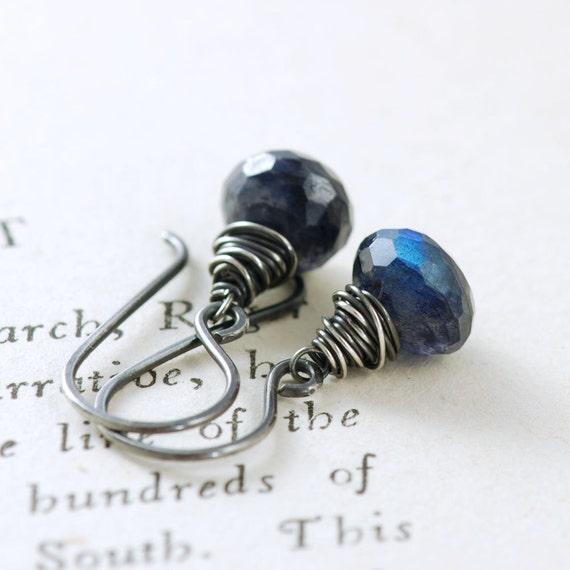 Blue Labradorite Earrings, Oxidized Sterling Silver Spectrolite Gemstone, September Birthday