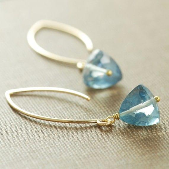 Teal Blue Earrings in 14k Gold Fill, Long Dangle Earrings, Gemstone, aubepine