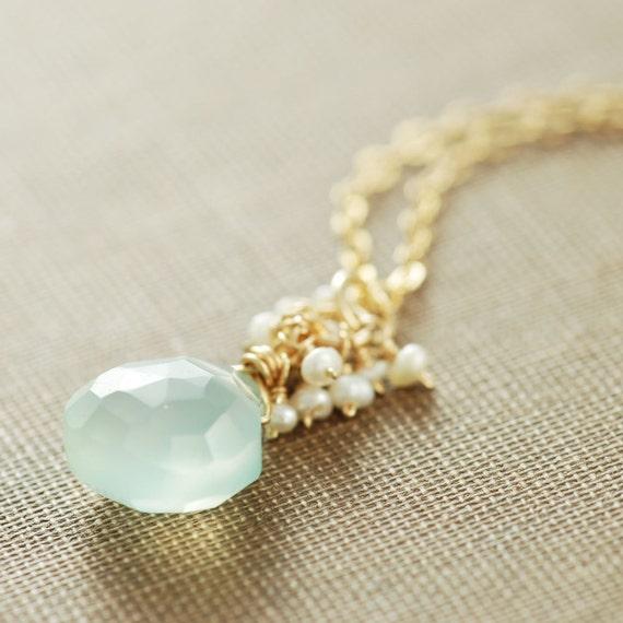 Aquamarine Blue March Birthstone Necklace, Seafoam Gemstone Pendant Necklace, Aqua Chalcedony Seed Pearl Necklace, Spring Jewelry