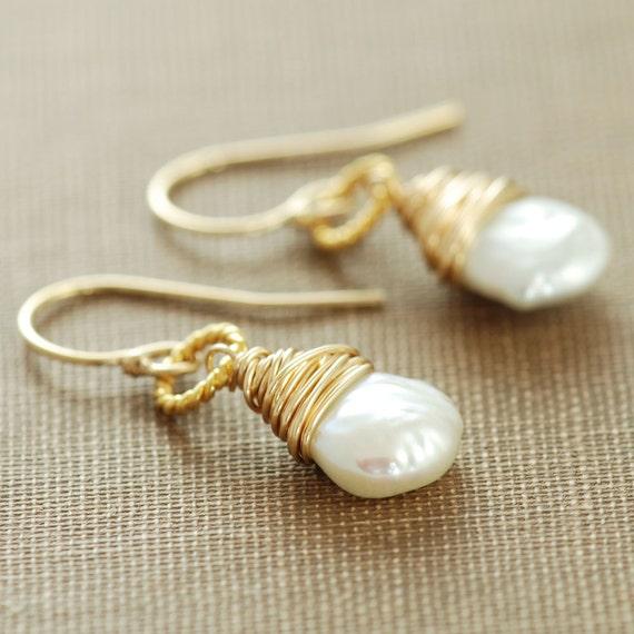 Pearl Dangle Earrings 14k Gold Fill, June Birthstone Jewelry, Keishi Pearl Wire Wrapped Handmade, aubepine