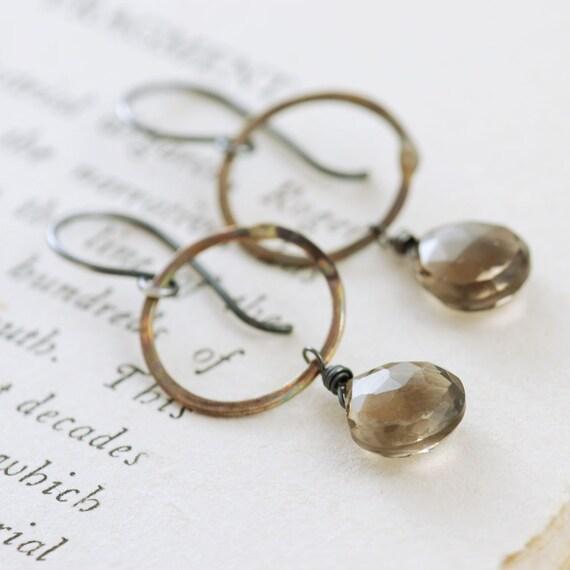 Mixed Metal Hoop Earrings Smoky Quartz Dangles, Sterling Silver and Brass Gemstone Earrings, aubepine