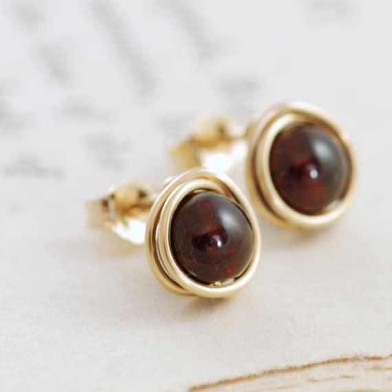 Garnet Post Earrings 14k Gold Fill, January Birthstone Earrings, Marsala Red Gemstone, aubepine