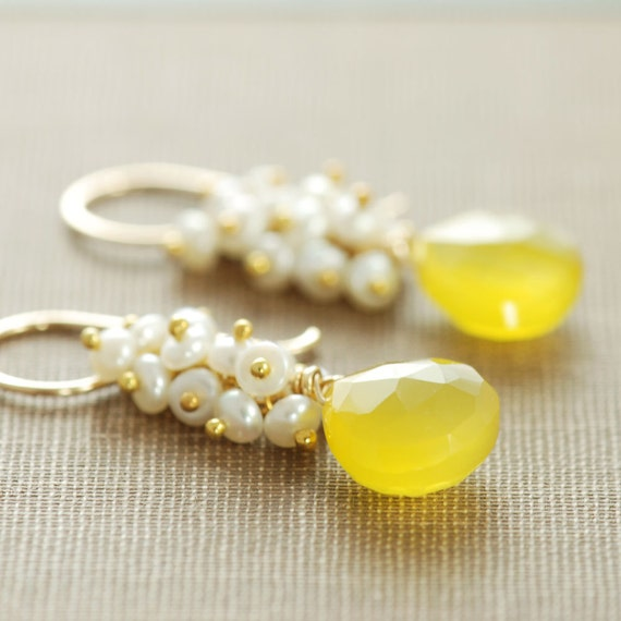 yellow gemstone earrings 14k gold fill pearl clusters gold
